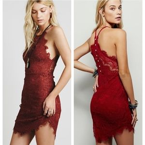 Free people she's got it lace mini dress